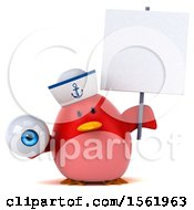 Clipart Of A 3d Chubby Red Bird Sailor Holding An Eye On A White Background Royalty Free Illustration