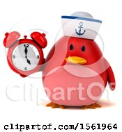 Clipart Of A 3d Chubby Red Bird Sailor Holding An Alarm Clock On A White Background Royalty Free Illustration