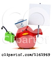 Clipart Of A 3d Chubby Red Bird Sailor Holding A Gas Can On A White Background Royalty Free Illustration
