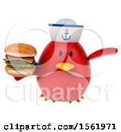 Clipart Of A 3d Chubby Red Bird Sailor Holding A Burger On A White Background Royalty Free Illustration