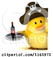 Clipart Of A 3d Yellow Bird Pirate Holding Wine On A White Background Royalty Free Illustration