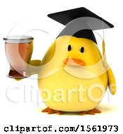 Clipart Of A 3d Yellow Bird Graduate Holding A Beer On A White Background Royalty Free Illustration