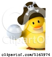 3d Yellow Bird Pirate Holding A Golf Ball On A White Background