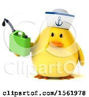 Clipart Of A 3d Yellow Bird Sailor Holding A Gas Can On A White Background Royalty Free Illustration