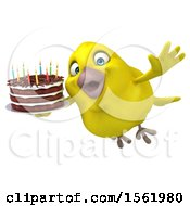 Clipart Of A 3d Yellow Bird Holding A Birthday Cake On A White Background Royalty Free Illustration
