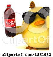 Clipart Of A 3d Yellow Bird Holding A Soda On A White Background Royalty Free Illustration