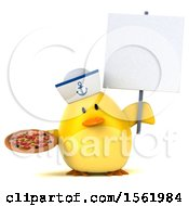 Clipart Of A 3d Yellow Bird Sailor Holding Pizza On A White Background Royalty Free Illustration