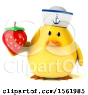 Clipart Of A 3d Yellow Bird Sailor Holding A Strawberry On A White Background Royalty Free Illustration