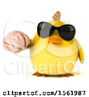 Clipart Of A 3d Yellow Bird Holding A Brain On A White Background Royalty Free Illustration