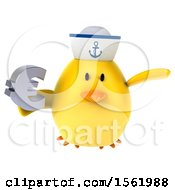Clipart Of A 3d Yellow Bird Sailor Holding A Euro On A White Background Royalty Free Illustration