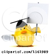 Clipart Of A 3d Yellow Bird Graduate Holding A Plate On A White Background Royalty Free Illustration