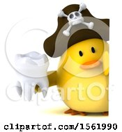 Clipart Of A 3d Yellow Bird Pirate Holding A Tooth On A White Background Royalty Free Illustration
