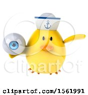Clipart Of A 3d Yellow Bird Sailor Holding An Eye On A White Background Royalty Free Illustration