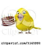Clipart Of A 3d Yellow Bird Holding A Birthday Cake On A White Background Royalty Free Vector Illustration