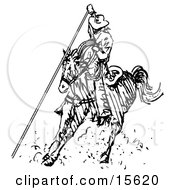 Cowboy On Horseback Roping Something Clipart Illustration