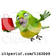 Clipart Of A 3d Green Bird Holding A Shopping Bag On A White Background Royalty Free Illustration