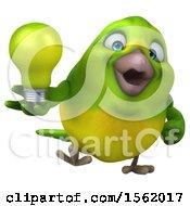 Poster, Art Print Of 3d Green Bird Holding A Light Bulb On A White Background
