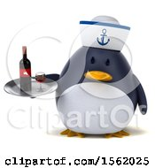 Clipart Of A 3d Chubby Penguin Sailor Holding Wine On A White Background Royalty Free Illustration