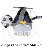 3d Chubby Penguin Graduate Holding A Soccer Ball On A White Background