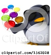 3d Chubby Penguin Holding Messages On A White Background