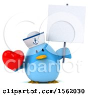 Clipart Of A 3d Chubby Blue Bird Sailor Holding A Heart On A White Background Royalty Free Illustration