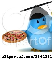 Clipart Of A 3d Chubby Blue Bird Graduate Holding A Pizza On A White Background Royalty Free Illustration