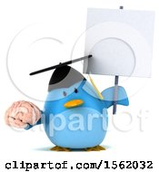Clipart Of A 3d Chubby Blue Bird Graduate Holding A Brain On A White Background Royalty Free Illustration