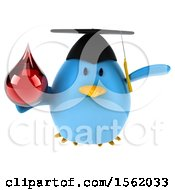 Clipart Of A 3d Chubby Blue Bird Graduate Holding A Blood Drop On A White Background Royalty Free Illustration