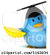 Clipart Of A 3d Chubby Blue Bird Graduate Holding A Banana On A White Background Royalty Free Illustration