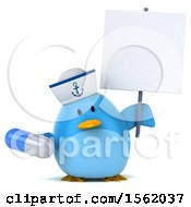 Clipart Of A 3d Chubby Blue Bird Sailor Holding A Pill On A White Background Royalty Free Illustration