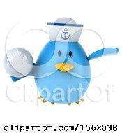 3d Chubby Blue Bird Sailor Holding A Golf Ball On A White Background