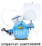Clipart Of A 3d Chubby Blue Bird Sailor Holding A Wrench On A White Background Royalty Free Illustration