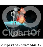 Clipart Of A 3d Knight Chasing A Dragon Over A Smart Phone Screen Royalty Free Illustration