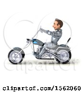 Clipart Of A 3d Caucasian Male Armored Knight Riding A Chopper Motorcycle On A White Background Royalty Free Illustration