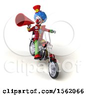 Clipart Of A 3d Colorful Clown Riding A Chopper Motorcycle On A White Background Royalty Free Illustration