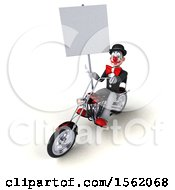 Clipart Of A 3d White And Black Clown Riding A Chopper Motorcycle On A White Background Royalty Free Illustration
