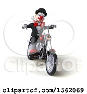 Clipart Of A 3d Black And White Clown Riding A Chopper Motorcycle On A White Background Royalty Free Illustration