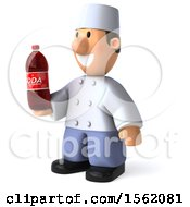 Clipart Of A 3d Short White Male Chef Holding A Soda On A White Background Royalty Free Illustration