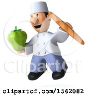 Clipart Of A 3d Short White Male Chef Holding A Bell Pepper On A White Background Royalty Free Illustration