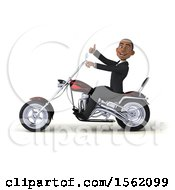 3d Black Business Man Riding A Chopper Motorcycle On A White Background