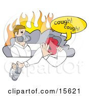 Two Men With Masks In A Smoke Cloud During A Fire Emergency Clipart Illustration by Andy Nortnik