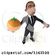 3d Young Black Business Man Holding An Orange On A White Background