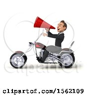 3d White Business Man Riding A Chopper Motorcycle On A White Background