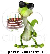 Clipart Of A 3d Green Gecko Holding A Birthday Cake On A White Background Royalty Free Vector Illustration