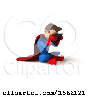 3d White Male Super Hero In A Blue And Red Suit Using A Tablet On A White Background