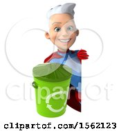 3d Young White Haired Caucasian Female Super Hero In A Blue And Red Suit Holding A Recycle Bin On A White Background