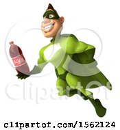 3d Buff White Male Green Super Hero Holding A Soda On A White Background