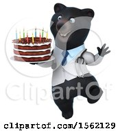 3d Black Doctor Bear Holding A Birthday Cake On A White Background