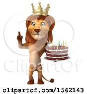 Clipart Of A 3d King Lion Holding A Birthday Cake On A White Background Royalty Free Vector Illustration