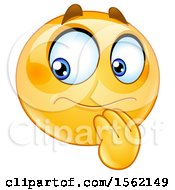 Poster, Art Print Of Yellow Emoji Smiley With A Hesitative Expression